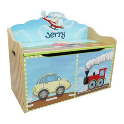 Fantasy Fields - Fantasy Fields Transportation Personalized Toy Chest Multicolor - W-9940AP - Shop for Childrens Toy Boxes and Storage from Hayneedle.com! Your smallest pit crew member will have no trouble fitting RC cars or Hot Wheels inside the Fantasy Fields Transportation Personalized Toy Chest. The rugged body is formed using MDF an engineered wood that won't warp or crack underneath that fun painted finish. There's plenty of storage beneath the wide bench seat and in case they forget where their toys are supposed to go you have the opportunity to personalize the backrest with your child's name. The lid lifts on safety hinges that prevent it from slamming down and pinching those little fingers. When it's time to relocate the cut-outs on the sides make it easy for Mom or Dad to move it to a new location.About Teamson DesignBased in Edgewood N.Y. Teamson Design Corporation is a wholesale gift and furniture company that specializes in handmade and hand-painted kid-themed furniture collections and occasional home accents. In business since 1997 Teamson continues to inspire homes with creative and colorful furniture.