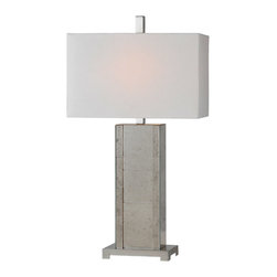 """lamps - This regal lamp features a body made of elegant antiqued mirror. Finished with an off white linen shade.  27""""H"""
