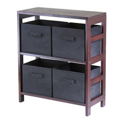 Winsome Wood - Walnut Finished Wood Storage Cabinet w Six Bl - * Capri Collection. Walnut finish unit. Black color baskets. Wood Unit. Fabric baskets. Assembly required. Shelf Unit: 25.25 in. L x 11.25 in. W x 29.25 in. H, 25 lbs. Basket: 10.97 in. L x 10.06 in. W x 9 in. H. 1.2 lbs