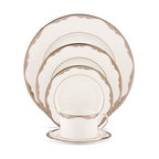 Kate Spade New York Trimble Place 5-Piece Place Setting - These elegant bone china dishes have scalloped borders in platinum. I'd come up with celebratory excuses to pull these out of the cabinet.