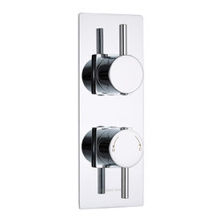 Hudson Reed - Quest Thermostatic Twin Shower Mixer Valve 1 Outlet With Slim Plate in Chrome - Create a neat finish to your bathroom or shower room with this twin thermostatic shower valve from Hudson Reed. Featuring a slim trim plate with a chrome finish to blend in with any decor, this shower valve supplies water at a pre-set temperature to either a fixed shower head, shower handset or tub filler. Made in Great Britain from brass, this high quality thermostatic shower valve incorporates ceramic disc technology and an anti-scald device for a safer showering experience.