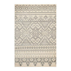 """Safavieh - Stanley Rug, Ivory / Silver 2'6"""" X 10' - Construction Method: Power Loomed. Country of Origin: Turkey. Care Instructions: Vacuum Regularly To Prevent Dust And Crumbs From Settling Into The Roots Of The Fibers. Avoid Direct And Continuous Exposure To Sunlight. Use Rug Protectors Under The Legs Of Heavy Furniture To Avoid Flattening Piles. Do Not Pull Loose Ends; Clip Them With Scissors To Remove. Turn Carpet Occasionally To Equalize Wear. Remove Spills Immediately. Inspired by global travel and the bold, colorful motifs adorning fashionable ski chalets, Safavieh translates rustic lodge style into the supremely chic and easy-care Adirondack collection. Crafted of enhanced polypropylene yarns, Adirondack rugs explore stylish over-dye and antiqued looks, making striking fashion statements in any room. This collection is power loomed in Turkey."""