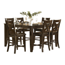 Homelegance - Homelegance Crown Point 7-Piece Counter Height Dining Room Set - Adorn your dining area with Crown Point collection . This grand scale casual dining in warm merlot finish is as strong and durable as they are stunning. table top is constructed of mango veneer with strong support tapered legs.