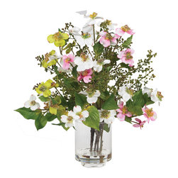 Nearly Natural - Dogwood Silk Flower Arrangement - Welcome spring with open arms when you display this beautiful Dogwood arrangement. Bursting with soft, pastel colors, the delicate flowers provide the perfect cure for the winter blues. Wispy stalks with green leaves and tiny buds complete a look that will certainly freshen up any home or office. Complete with a glass vase and liquid illusion, this arrangement is sure to please.