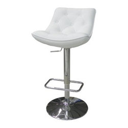 Cindy Bar Stool - The Cindy Bar Stool is a comfortable and stylish seat for your bar. Tufted white leatherette with thick cushions make the back and seat comfy. A polished chrome disk base adds stability and style. Maximum comfort comes from the built-in footrest and easy-access adjustable height lever. About Whiteline:With a product line that includes prime leather sofas, comfortable beds, and elegant dining room furniture, Whiteline delivers modern and contemporary styles along with cozy comfort. Whiteline has 15 years of experience building furniture, along with a worldwide network of skilled manufacturers to help them give you the best value for your money. And their huge collection of designs is sure to have something to suit your contemporary tastes.