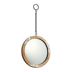 """Cyan Design - Accent Thru the Looking Glass 9"""" Round Antique White Wall Mirror - Suspended by a long metal hanger design this round glass mirror is encased in an antique white finished wood frame for a rustic look. Bring Lewis Carroll's """"The Adventures of Alice in Wonderland"""" to life by having your own """"thru the looking glass"""" mirror. This wall mirror adds ambiance to any room in the home and is certain to become a conversation piece. Round mirror with metal design hanger. Wood construction. Antique white finish. Hang weight is 2.75 pounds. Glass only is 9"""" round 1/4"""" deep. 11"""" wide. 22"""" high. 1 1/2"""" deep. Horizontal hanger hardware included.  Round mirror with metal design hanger.  Wood construction.  Antique white finish.  Hang weight is 2.75 pounds.  Glass only is 9"""" round 1/4"""" deep.  11"""" wide.  22"""" high.  1 1/2"""" deep.  Horizontal hanger hardware included."""
