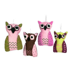 Bambeco Handmade Scandinavian Owl Ornaments - No sleepy sentinels here—these owls are wide awake and ready to celebrate They make wise small gifts as well as jaunty Christmas ornaments. Handcrafted from natural felt.Sold individually.Available colors: Pink/Green, Brown/Pink, Pink/Fuchsia.Dimensions: 4H.