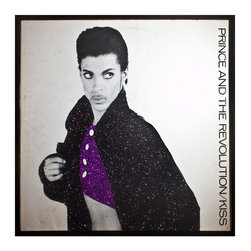 """Glittered Prince Kiss Single - Glittered record album. Album is framed in a black 12x12"""" square frame with front and back cover and clips holding the record in place on the back. Album covers are original vintage covers."""