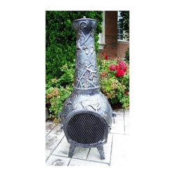 Oakland Living - Leaf 53 in. Chimenea Fireplace in Antique Pew - Made of Durable Cast Iron Construction. Fire pits can fit three to five logs or use charcoal for grilling. Easy to follow assembly instructions and product care information. Stainless steel or brass assembly hardware. Fade, chip and crack resistant. 1 year limited. Hardened powder coat finish in Antique Pewter for years of beauty. Antique Pewter finish. Some assembly required. 23 in. W x 20 in. L x 54 in. H (168 lbs.)This Chimenea fire pit will be a beautiful addition to your patio, back yard or outdoor entertainment area. Adds beauty, style and functionality. Our Chimenea fire pits are perfect for any small space, or to accent a larger space.