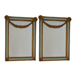 "Used Vintage Carvers' Guild Mirrors - A Pair - A pair of vintage Carvers' Guild petite festoon mirrors. The mirrors are decorated in antique gold and light aqua with glamorous gold leafed ornamentation. Carvers' Guild mirrors have proudly been made in the USA since 1970.  The mirror features its original glass.     Dimensions: 15.5"" x 21""."