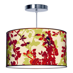 """jefdesigns - Leaf 1 Pendant Lamp - 16""""x9"""" - Turn over a new leaf with this unique linen drum pendant. The organic design is rendered in wood grain that looks amazing when the light shines through."""