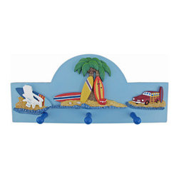 3 Hook Surfing Theme Wall Mounted Clothes Rack Beach - This great wall mounted, 3 hook clothing hanger features an island surfing theme, consisting of waves, a beach, palm trees and surfboards. Made of cold cast resin, the rack measures 15 3/4 inches wide, 7 inches tall and 1 1/2 inches deep. The hooks can hold up to 5 pounds each, perfect for light jackets, scarves and towels. Each hook has a rounded on the tip, so it won`t snag your clothing. It makes a great gift for the surf fanatic in your family.