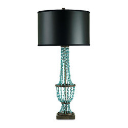 Currey and Company - Currey and Company Preston Table Lamp-Large - Sweeping strings of turquoise beads give shape to the Preston lamp. The metal base is finished in cupertino. Its handmade artistry ensures high quality craftsmanship. The lamp is topped by a black parchment shade.Shades: Matt Black Parchment, 20x20x13Material: WROUGHT IRON/MARBLEFinish: Cupertino/Turquoise
