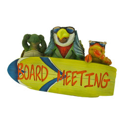 """Zeckos - Tropical Paradise """"Board Meeting"""" Plaque - These tropical island creatures are in a 'board meeting,' and they see, hear, and speak no evil work talk. Made of cold cast resin, this piece measures 11 inches long, 6 1/2 inches tall, and 3 inches deep. It is hand painted, and the details are what make it so adorable, from the parrot's business casual attire to the lobster's rockin' shades. It makes a great gift for a friend that is buried with work in the corporate world that could use a vacation"""