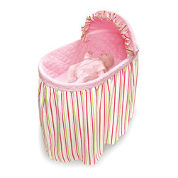 Badger Basket - Embrace Bassinet with Stripe and Pink Bedding Set - Badger Basket's new Stripe and Pink Embrace Bassinet offers the comfort, fashion, and convenience you want for Baby's first few months.