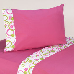 Sweet Jojo Designs - Sweet JoJo Designs 200 Thread Count Mod Circles Bedding Collection Cotton Sheet - These sheets use solid hot pink 100-percent cotton fabric with hot pink and lime green circles trim. Made to coordinate with the matching Sweet JoJo bedding set, this sheet set is machine washable for easy care.