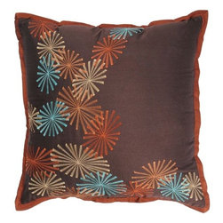 "Rizzy Home - T-2669 18"" Decorative Pillow in Brown (Set of 2) - Distinctive and elegant, these decorative accent pillows are versatile enough to be used in any room of the home. Rich hues and textural accents will allow you to add your signature touch and create your own style. Features: -Color: Brown. -Material: Poly staple. -100% Siliconized polyester fiber filler. -Zippered pillow cover with poly fill insert. -Dry clean only."