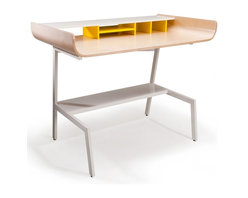 Offi Half Pipe Desk in Birch - The Half Pipe Desk by Offi & Company is a stylish and minimal desk for the office or home. Made of molded plywood with a choice of three veneers, and powder-coated metal legs, the Half Pipe Desk is both practical and durable. Available in Walnut, Oak or Birch Veneer. An Eric Pfeiffer design.