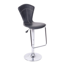"Wildon Home � - Petal Gas Lift Swivel Barstool (Set of 2) - Features: -Set of 2 swivel barstools. -Metal construction. -Polyurethane seat. -Contemporary style. -Chrome base. -Adjustable from counter height to bar height. -Assembly required. -Dimensions: 23"" Height x 17"" Width x 21"" Depth."