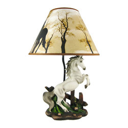 Zeckos - White Stallion Horse Table Lamp W/ Nature Print Shade - This awesome table lamp features a rearing white stallion. Measuring 18 1/2 inches tall, including the silhouette horse print 12 inch diameter shade, the lamp is a wonderful decorative accent for horse lovers. It uses regular sized light bulbs up to 60 watts.