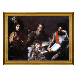 """Valentin De boulogne-16""""x24"""" Framed Canvas - 16"""" x 24"""" Valentin De boulogne The Four Ages of Man framed premium canvas print reproduced to meet museum quality standards. Our museum quality canvas prints are produced using high-precision print technology for a more accurate reproduction printed on high quality canvas with fade-resistant, archival inks. Our progressive business model allows us to offer works of art to you at the best wholesale pricing, significantly less than art gallery prices, affordable to all. This artwork is hand stretched onto wooden stretcher bars, then mounted into our 3"""" wide gold finish frame with black panel by one of our expert framers. Our framed canvas print comes with hardware, ready to hang on your wall.  We present a comprehensive collection of exceptional canvas art reproductions by Valentin De boulogne."""