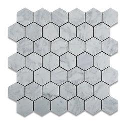 "Tiles R Us - Carrara White Marble Honed 2 Inch Hexagon Mosaic Tile, Lot of 50 Sq. Ft. - - Italian Carrara White Marble 2"" Hexagonal Honed (Matte Finish) Mosaic Tile."