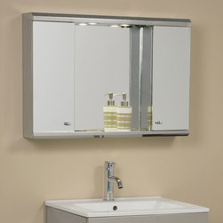 Illumine Dual Stainless Steel Medicine Cabinet with Lighted Mirror - The Illumine Dual Stainless Steel Medicine Cabinet provides plenty of storage space behind two doors and a support shelf under the mirror. Above the mirror, two lights offer just the right amount of brightness while you take advantage of a built-in outlet. Clean design and simple lines make this cabinet look great in any bathroom.