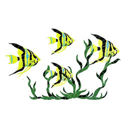 """Glass Tile Oasis - Medium Yellow Fish Group Pool Accents Yellow Pool Glossy Ceramic - Sheet size:  31"""" x 50""""     Tile thickness:  1/4""""      Sheet Mount:  Mesh Backed     Sold by the piece     -  We offer six lines of in-stock designs ready for immediate delivery including: The Aquatic Line  The Shadow Line  The Hang 10 Line  The Medallion Line  The Garden Line and The Peanuts® Line.All of the mosaics are frost proof  maintenance free and guaranteed for life.Our Aquatic Line includes: mosaic dolphins  mosaic turtles  mosaic tropical and sport fish  mosaic crabs and lobsters  mosaic mermaids  and other mosaic sea creatures such as starfish  octopus  sandollars  sailfish  marlin and sharks. For added three dimensional realism  the Shadow Line must be seen to be believed. Our Garden Line features mosaic geckos  mosaic hibiscus  mosaic palm tree  mosaic sun  mosaic parrot and many more. Put Snoopy and the gang in your pool or bathroom with the Peanuts® Line. Hang Ten line is a beach and surfing themed line featuring mosaic flip flops  mosaic bikini  mosaic board shorts  mosaic footprints and much more. Select the centerpiece of your new pool from the Medallion Line featuring classic design elements such as greek key and wave elements in elegant medallion mosaic designs."""