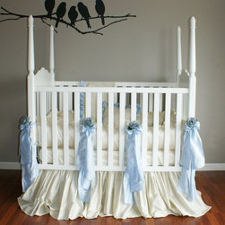 Celine Silk Crib Linens in Blue - Celine Crib Linens in Blue by Olena Boyko