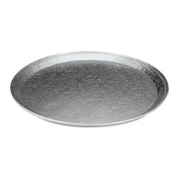 Handi-Foil - Handi-Foil Aluminum Embossed Tray, Round, 12 in - Aluminum embossed serving trays provide uncompromising foil quality along with an optimal display of goods. Handle freezer to oven temperatures. Used for hot or cold foods. Durable, economical and reusable, they're sure to cover innumerable uses.