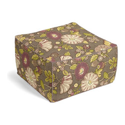 Purple & Green Modern Floral Square Pouf - The Square Pouf is the hottest thing in decor since the sectional sofa. This bean bag meets Moroccan style ottoman does triple duty as a comfy extra seat, fashion-forward footstool, or part-time occasional table.  We love it in this large playful floral in soft purple, taupe & lime green. feel the poppy love with this modern print.