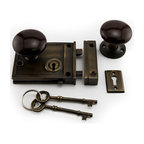 Horizontal Rim Lock Set with Brown Porcelain Knobs - Add a historic touch to your home with the Horizontal Rim Lock Set with Brown Porcelain Knobs. This knob set includes skeleton keys and a matching keyhole.