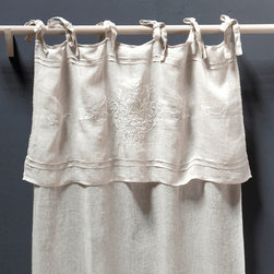 Curtain Panel -Classica Tie Top Linen Voile - The Classica Tie Top curtain panel in white linen voile is a perfectly-harmonized mix of decorative elements from chic and comfortable traditional interiors.  Below the long ties that secure the panel to your curtain rod with bows or loose knots, a deep fold mimics the layered look of a valance all in one curtain.  Parallel pintucks and a delicious damask motif in fine tone-on-tone embroidery complete this linen panel with hope-chest authenticity and upscale grace.