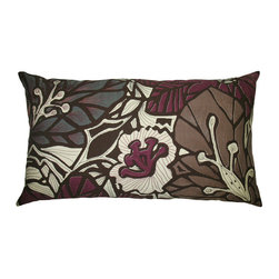 "KOKO - Flora Pillow, 15"" x 27"" - These colors are so unexpected paired with a tropical print. The dark embroidery is refreshing and the texture is rich and luxurious. This is just the modern pop of pattern to transform a neutral sofa."