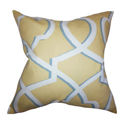 """The Pillow Collection - Curan Geometric Pillow Yellow 18"""" x 18"""" - Create a calming and uplifting vibe to your home with this throw pillow. Decorated with a geometric pattern in shades of yellow, blue and white. Adorn your sofa, bed or seat with a few pieces of this toss pillow for extra support. Made of 100% soft cotton material. Crafted in the USA."""