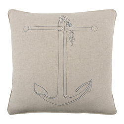 "Thomas Paul - Thomas Paul Anchor Indigo Pillow - Simple nautical style defines this Thomas Paul pillow's classic design. Accenting natural flax, an indigo blue embroidered anchor makes a compelling statement. 22""W x 22""H; 100% flax; Embroidered design; Includes feather-down insert; Dry clean only"
