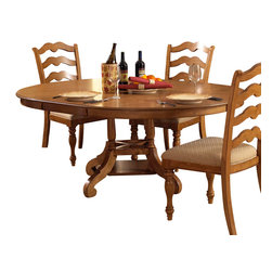 Hillsdale Furniture - Hillsdale Hamptons Round Dining Table with Leaf in Weathered Pine - Rich in quality and design, Hillsdale Furniture's Hamptons dining collection boasts a dynamic weathered pine finish, a transitional ladder back chair, and a round dining table with a leaf that provides room for seating up to six people comfortably. To complete your dining room, this collection features a matching server with 2 glass doors and 1 pane for display and storage space. Solid pine construction. Assembly required.