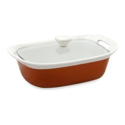 Corningware - CorningWare Etch 2 1/2-Quart Casserole Dish in Brick - CorningWare Etch bakeware dishes reflect stoneware and the expression of shape, texture and technology that display a definitive modernism. Etch bakeware dishes feature ribbon-like embossed lines that weave loosely around the base.