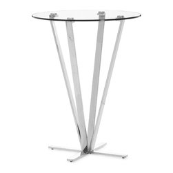 Zuo Modern - Mimosa Bar Table Stainless Steel - Refreshing, clean and strong, the Mimosa bar table is chic yet durable for any entertainment venue. Tempered round glass on top of a stainless steel base.