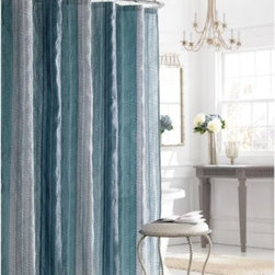 Manor Hill - Manor Hill Sierra Shower Curtain in Blue - Add a splash of color to your bath with the Sierra Blue Stall shower curtain. Subtle graphic design is fresh and clean in cool and gray tones.