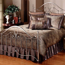 Hillsdale Furniture - Doheny Metal Poster Bed w Tapered Posts in An - Choose Bed Size: FullIncludes bed frame and rails. Mattress not included. Slender tapered posts. Sweeping scrollwork. A high profile silhouette. Intricate castings. Satin Beige frame. Full Headboard: 53.75 in. W x 55 in. H. Full Footboard: 54.75 in. W x 36.5 in. H. Full frame: 54 in. W x 76 in. L. Queen Headboard: 60.75 in. W x 55 in. H. Queen Footboard: 61.75 in. W x 36.5 in. H. King Headboard: 76.75 in. W x 55 in. H. King Footboard: 77.75 in. W x 36.5 in. H. Queen/King frame: 83.5 in. L x 78 in. WBoasting an elegant Pewter finish, our Doheny bed also features slender tapered posts, sweeping scrollwork, a high profile silhouette, and intricate castings. Sophisticated and graceful, the Doheny bed is as versatile as it is attractive.