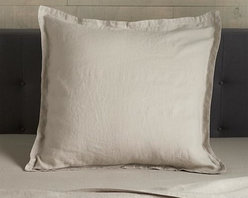 Lino Flax Linen Euro Sham - Super soft, washed bedding in solid, gorgeous hues spreads the bed in the comforting touch and relaxed, worn-in style of pure linen. One-inch, self-flange detailing and envelope closure adds casual tailoring. Pillow insert also available.