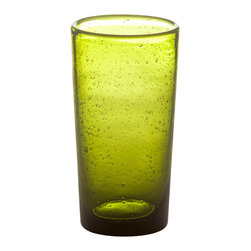 Abigails - Bubble Highball Glass ,Army Green, Set of 4 - This useful and stylish bubble glass highball is great for iced tea or any beverage of your choice.