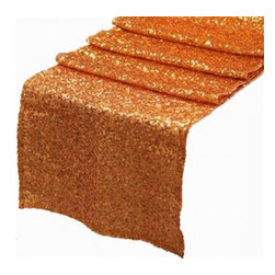Chambury Casa - Sequined Table Runner, Orange, 12x108 - Celebrate your special day with your reception accented with these beautiful sequined table runners.