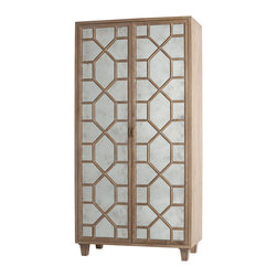 Kathy Kuo Home - Remington Oak Hollywood Regency Antique Mirror Bar Cabinet - Storage and style don't have to be at odds.  This gorgeously detailed mirrored bar cabinet makes it clear.  Roomy enough for drinks or electronics - or both - contemporary spaces will breath a sigh of relief to see this arrive.
