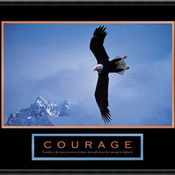 """Amanti Art - Courage: Bald Eagle Framed Print - Give your bravery a boost with this inspiring framed print. The quote at the bottom reads, """"Freedom is the sure possession of those alone who have the courage to defend it."""" You'll find your spirit soaring along with the bald eagle, every time you look up at this patriotic print."""