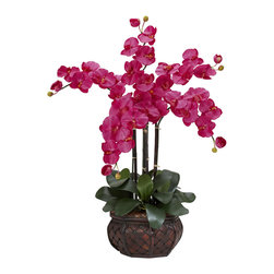 Nearly Natural - Phalaenopsis w/Decorative Vase Silk Flower Arrangement - Our Phalaenopsis with vase is an elegant and exotic plant. Rich pastel colors easily add a touch of Asian beauty to any setting. Hard to pronounce but even harder to not admire, the 31 inch high Phalaenopsis resembles a miniature tree thus enhancing its already delicate look. Set atop a bed of green and a tasteful island inspired vase, this delicate looking flower lasts forever with no watering ever!