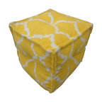 Cadiz Mango Pouf - The modern Cadiz square pouf is hand woven from 100% cotton. The casual pouf design uses strong simple geometrics in bold mango and natural. This rug contains hand carded wool and made in India.