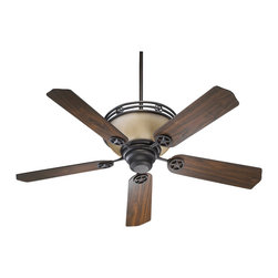 """Quorum Lighting - Quorum Lighting Lone Star 52"""" Transitional Ceiling Fan X-44-52508 - Star detailing to each of the arms and the rim help to add rustic charm to this stylish Quorum Lighting ceiling fan. From the Lone Star Collection, this transitional ceiling fan features traditionally shaped fan blades that are reversible with a Toasted Sienna finish on one side and Walnut on the other. To complete the look, amber scavo glass and a Toasted Sienna finish are used."""