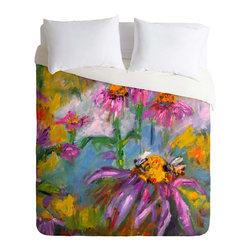 DENY Designs - DENY Designs Ginette Fine Art Purple Coneflowers And Bees Duvet Cover - Lightwei - Turn your basic, boring down comforter into the super stylish focal point of your bedroom. Our Lightweight Duvet is made from an ultra soft, lightweight woven polyester, ivory-colored top with a 100% polyester, ivory-colored bottom. They include a hidden zipper with interior corner ties to secure your comforter. It is comfy, fade-resistant, machine washable and custom printed for each and every customer. If you're looking for a heavier duvet option, be sure to check out our Luxe Duvets!